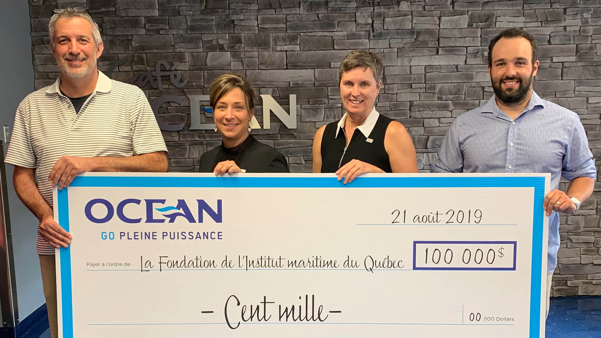 Groupe Océan fait don de 100 000$ à la Fondation de l'Institut maritime du Québec.