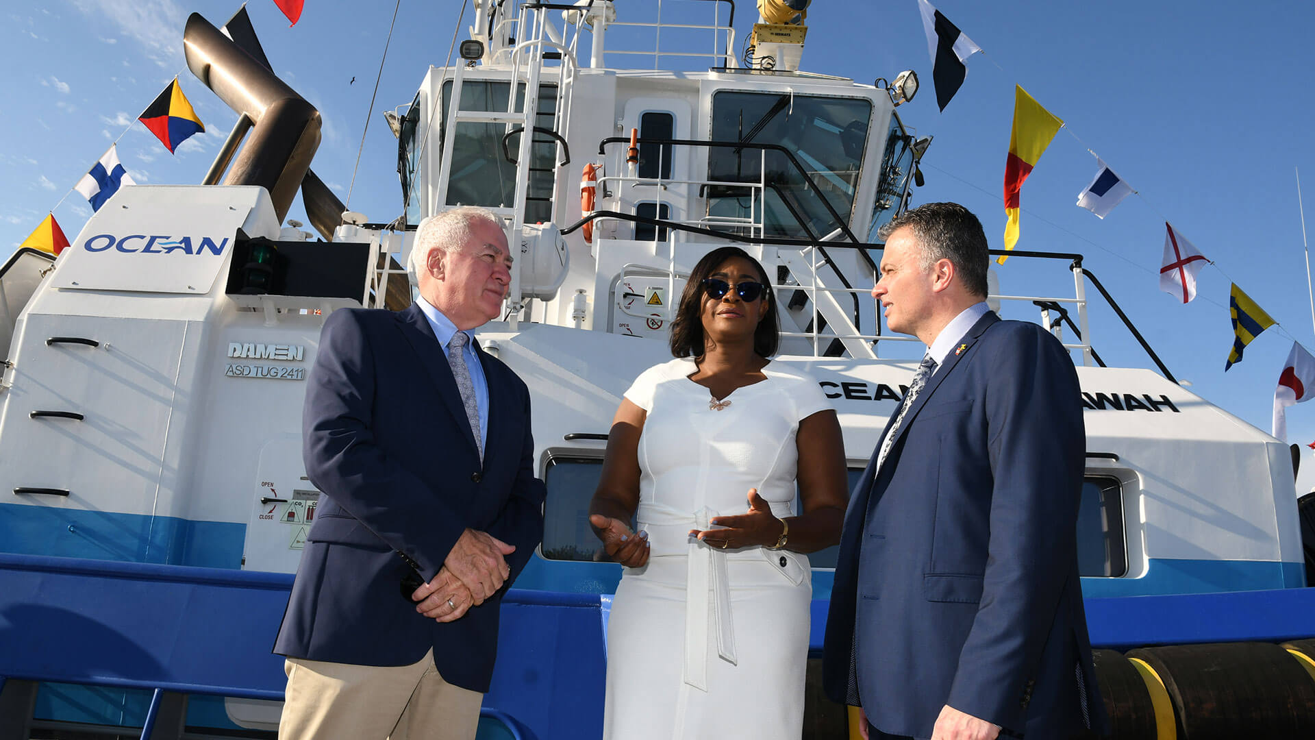 Blessing of two new harbour tugs for Ocean J. Towing Limited